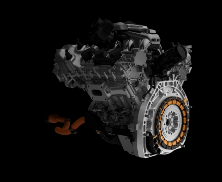 The NSX powertrain features a rear direct-drive electric motor that applies torque directly to the crankshaft.