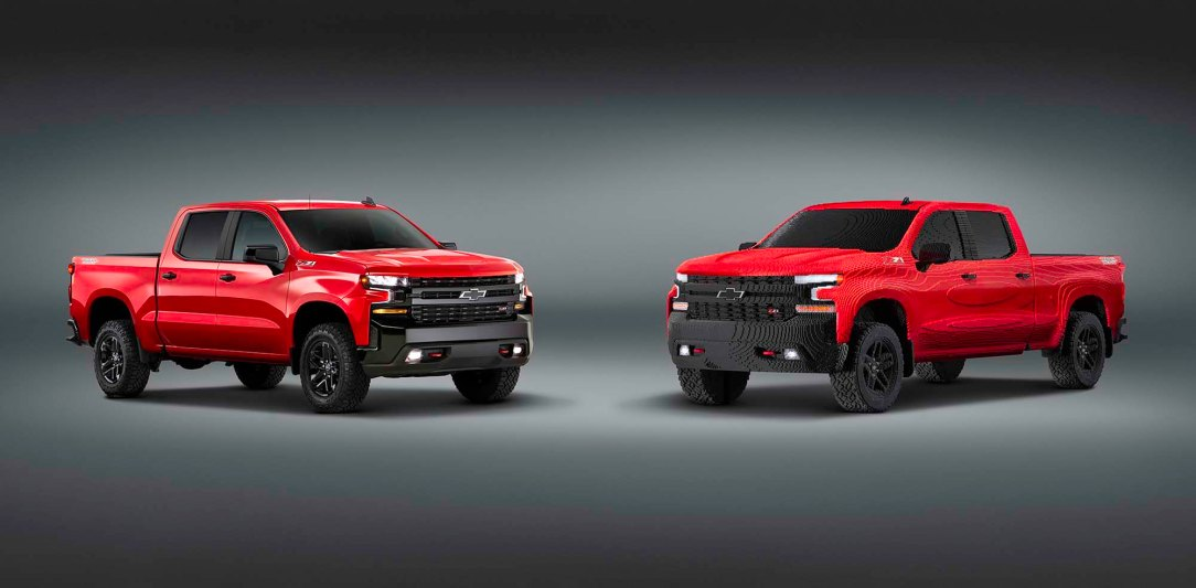 The LEGO® Silverado is a full-size replica of the all-new 2019
