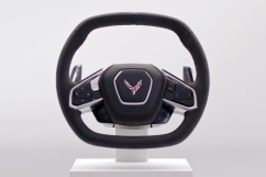 Just as the eighth generation defines the Corvette formula, so does its steering wheel with its leather-wrapped, squared-off shape to enhance visibility and comfort. Also notable is its contrasting stitching and beautifully integrated controls. Preproduction model shown. Actual production model may vary. Availability to be announced at a later date.