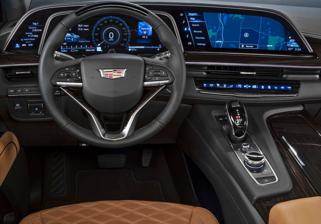 The 2021 Cadillac Escalade showcases the first curved OLED in th