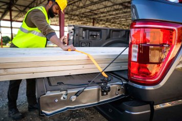 Every all-new F-150 comes standard with new cleats mounted to the sides of the tailgate to act as tie-down locations for extra-long items in the bed.