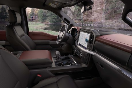 The cabin is completely redesigned with more comfort, technology and functionality for truck customers along with more premium materials, more color choices and more storage. Shown here is the interior of the all-new F-150 Lariat Sport