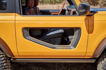 Modular doors on this prototype vehicle are among the Ford accessories available for Bronco two- and four-door models. (Aftermarket accessories shown not available for sale. Prototype not representative of production vehicle.)