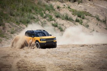 The all-new Bronco Sport enables exciting, high-speed off-road driving thanks to an available 2.0-liter EcoBoost® engine with segment-best horsepower and torque. (Pre-production model pictured.)