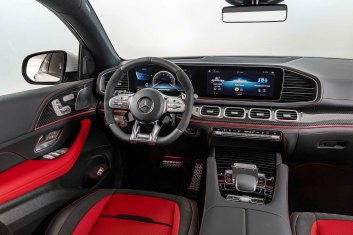 Mercedes-AMG GLE 53 4MATIC+ Coupé, designo diamantweiß bright, AMG Exclusive Leder Nappa red pepper / Schwarz, Interieur;Kraftstoffverbrauch kombiniert 9,3 l/100 km, CO2-Emissionen kombiniert 212 g/km* Mercedes-AMG GLE 53 4MATIC+ Coupé, designo diamond white bright, AMG Exclusive Leather Nappa red pepper / black, interior;Combined fuel consumption 9,3 l/100 km, combined CO2 emissions 212 g/km*